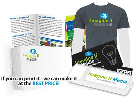 Examples of shirts, business cards, flyer and USB stick