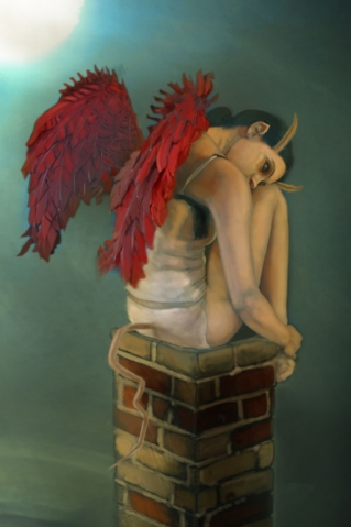 Girl with wings painting